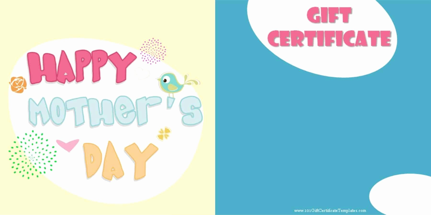 Mother's Day Gift Certificate Template Unique Mother S Day Gift Certificate Templates