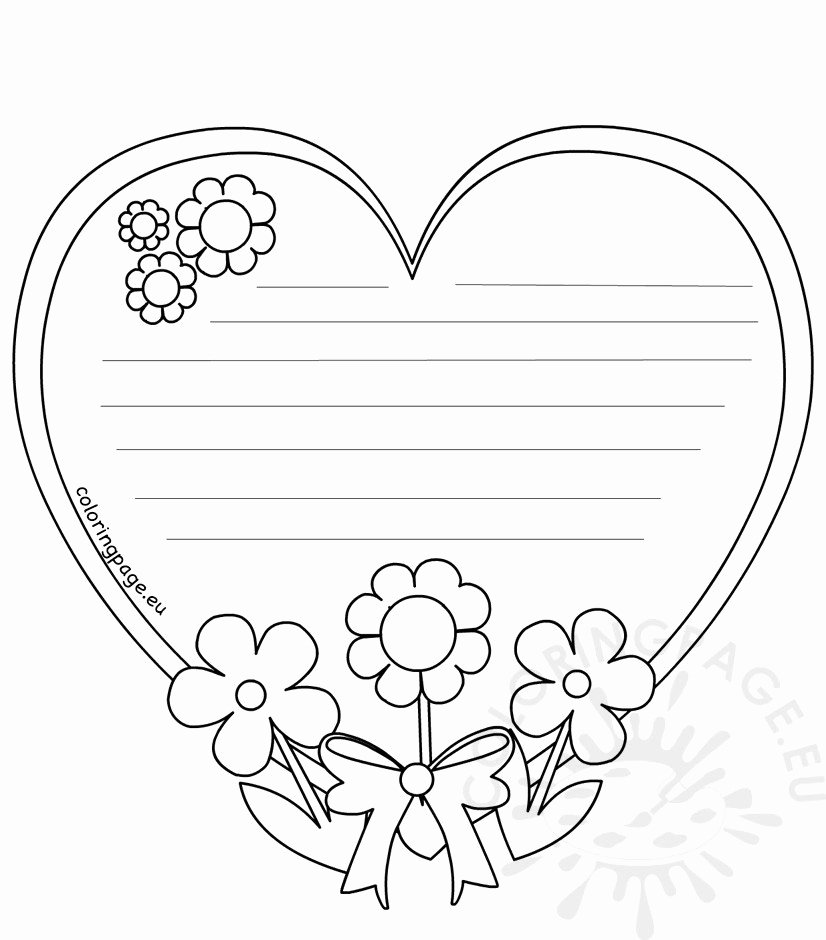 Mother's Day Writing Template Beautiful Heart Writing Template Mothers Day – Coloring Page