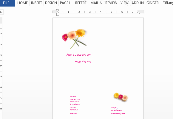 Mother's Day Writing Template Beautiful Mother S Day Card for Wife Template for Word