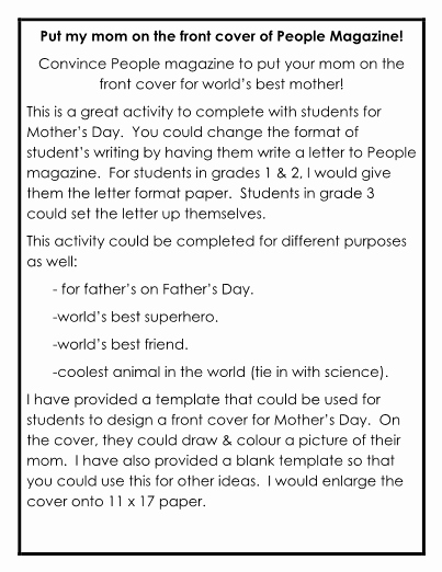 Mother's Day Writing Template Inspirational Mother S Day Writing Activity