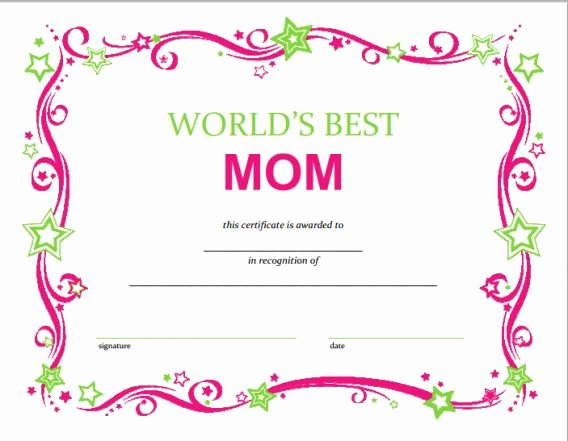 Mothers Day Certificate Template New Free Mothers Day Printable Certificate