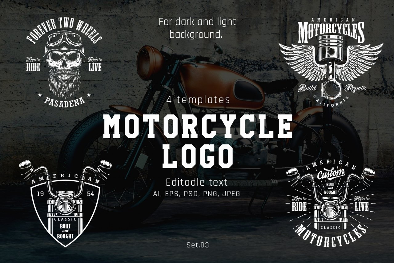 Motorcycle Club Patch Template Photoshop Awesome Motorcycle Templates Vector Design Dgimstudio