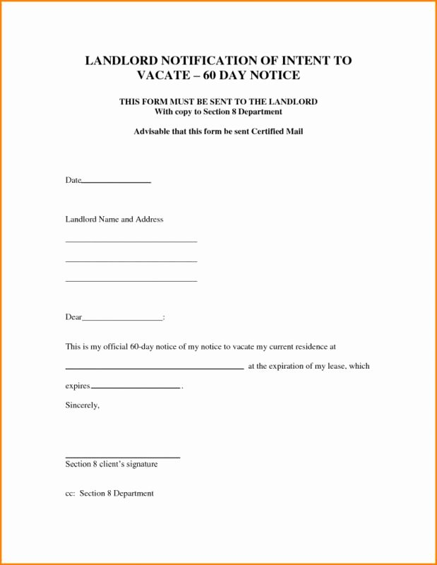 Move Out Notice to Landlord Best Of Intent to Vacate Letter