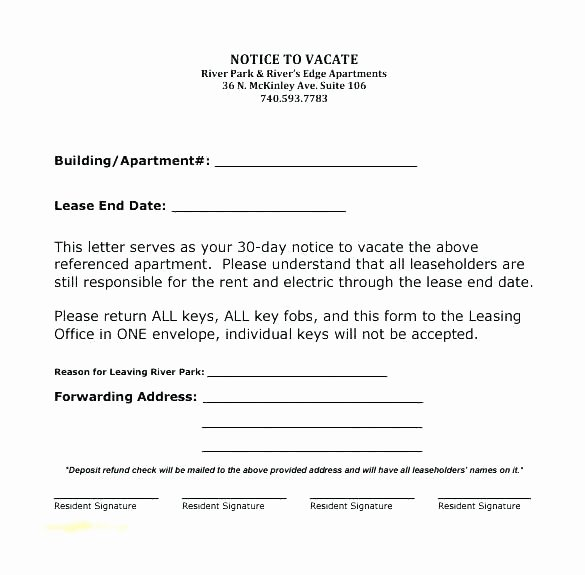Moving Out Notification Letter Sample Fresh Template for 30 Day Notice to Landlord – Stagingusasportfo
