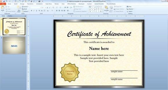 Ms Powerpoint Certificate Template Elegant Free Diploma Certificate Template for Microsoft Powerpoint