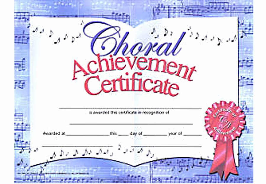 Music Achievement Award Certificate Best Of Choir Appreciation Quotes Quotesgram
