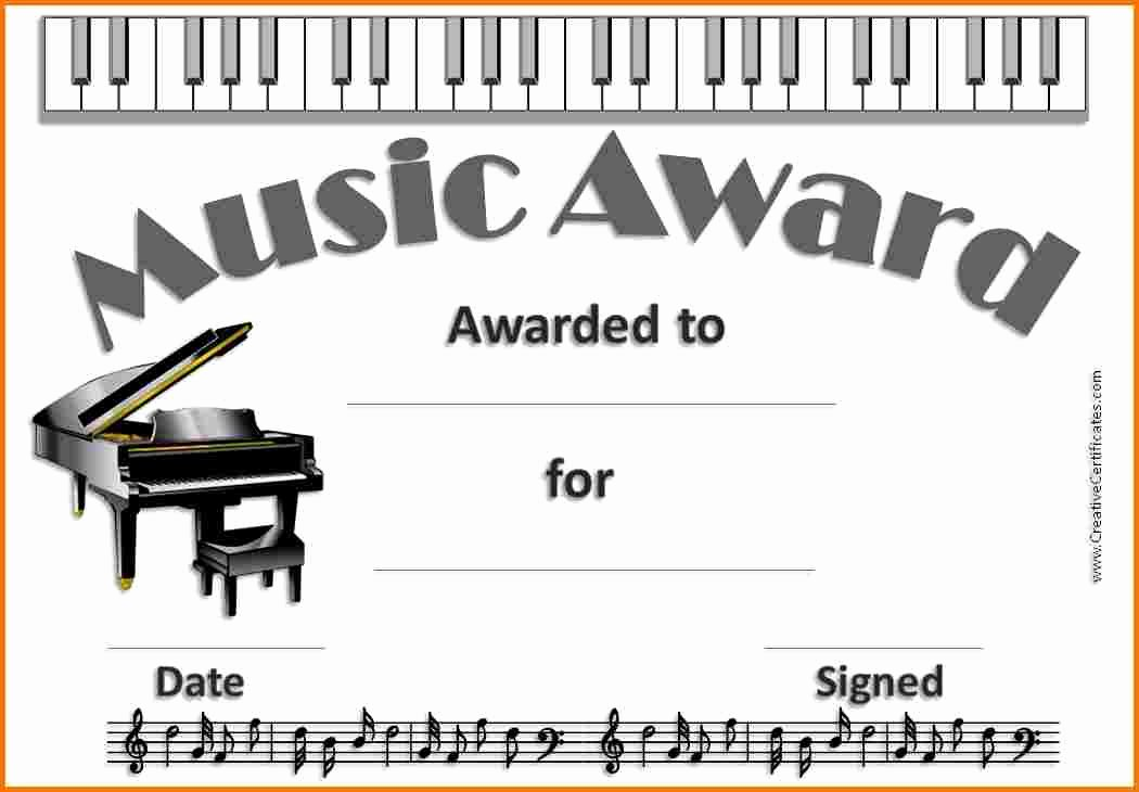 Music Award Certificate Template Beautiful Music Certificate Template