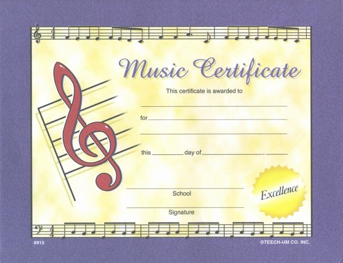 "Music Award Certificate Template Best Of Large Music Certificate W Gold Seals Pkg 28 8½"" X 11"
