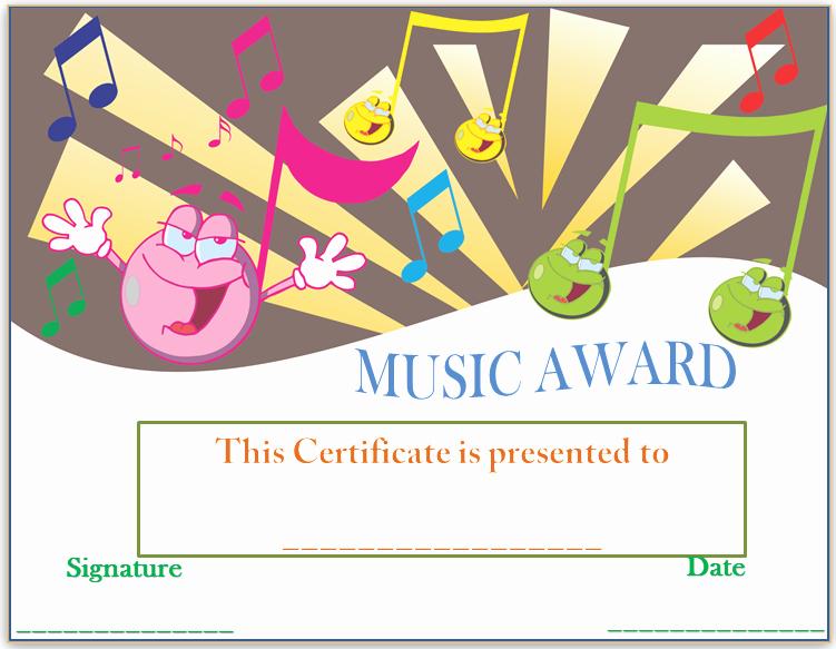 Music Award Certificate Template Best Of Smiley Face Music Award Certificate