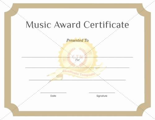 Music Award Certificate Template Elegant Download Free or Premium Version No Registrations