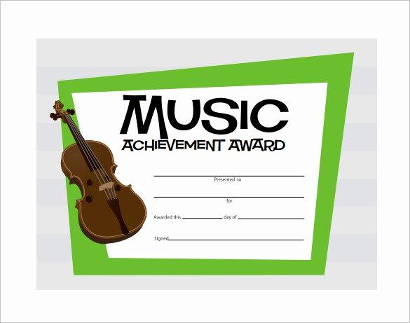 Music Award Certificate Template Inspirational 8 Printable Music Certificate Templates Word Psd Ai