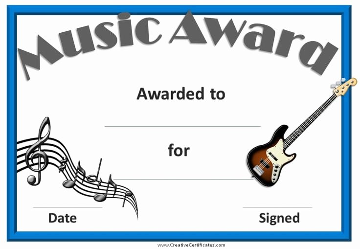 Music Award Certificate Template Lovely 23 Best Images About Award Certificates On Pinterest