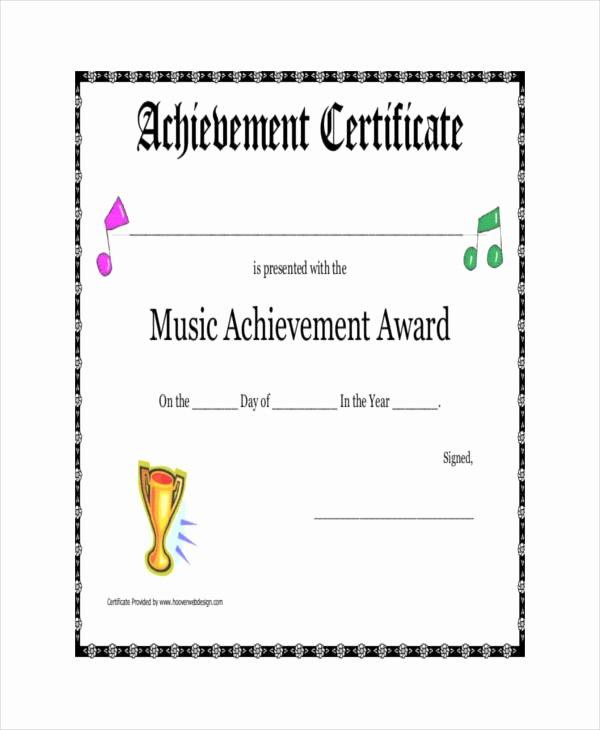 Music Award Certificate Template Lovely Award Certificate Template 23 Free Word Pdf Psd format