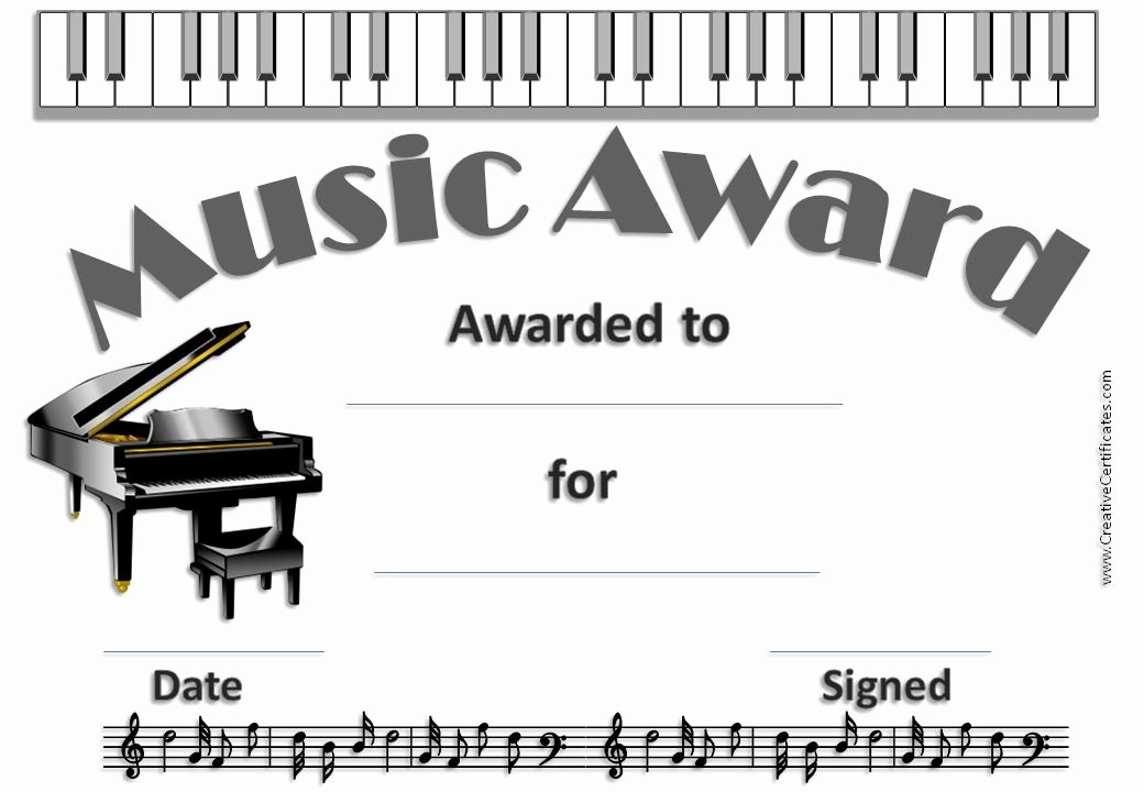 Music Award Certificate Template Lovely Certificate with Picture Of A Piano