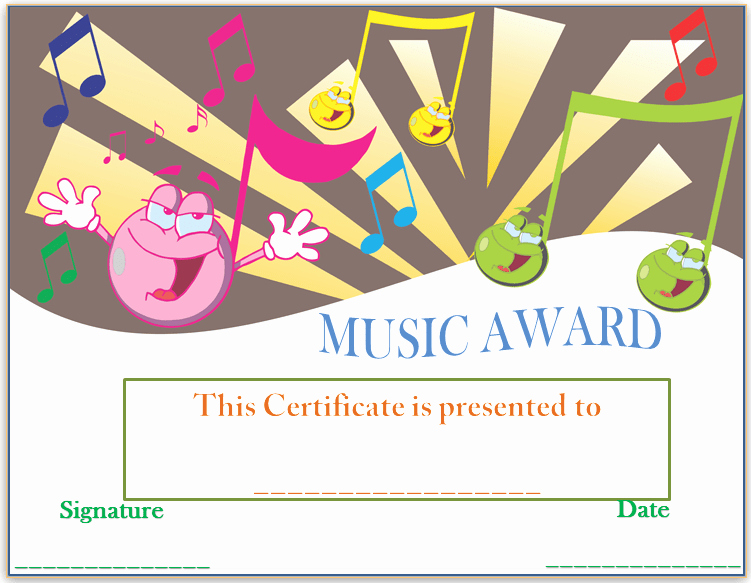 Music Award Certificate Template Luxury Smiley Face Music Award Certificate