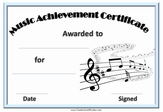 Music Award Certificate Template New Printable Music Certificate with A Light Blue Border