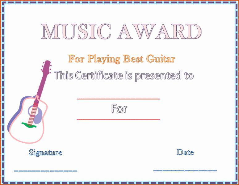 Music Award Certificate Templates Free Elegant 7 Award Template Word Bookletemplate