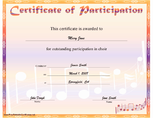 Music Award Certificate Templates Free Elegant A Rainbow Hued Certificate Of Participation In Choir with