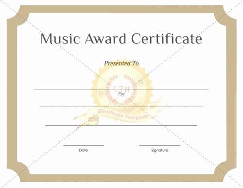 Music Award Certificate Templates Free Elegant Download Free or Premium Version No Registrations