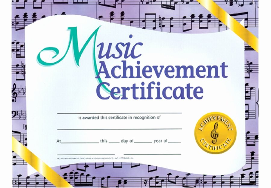 "Music Award Certificate Templates Free Inspirational Music Achievement Certificate Pkg 30 11"" X 8½"""