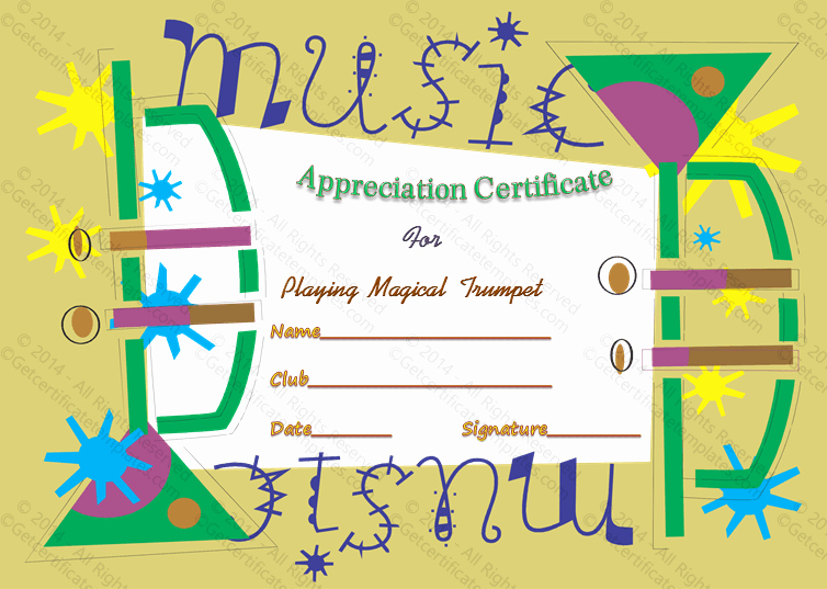 Music Award Certificate Templates Free Lovely Appreciate Music Award Certificate Template