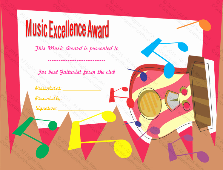 Music Award Certificate Templates Free Lovely Best Guitarist Award Certificate Template