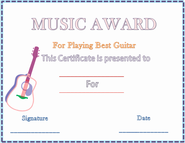Music Award Certificate Templates Free Unique Award Certificate Template for Word
