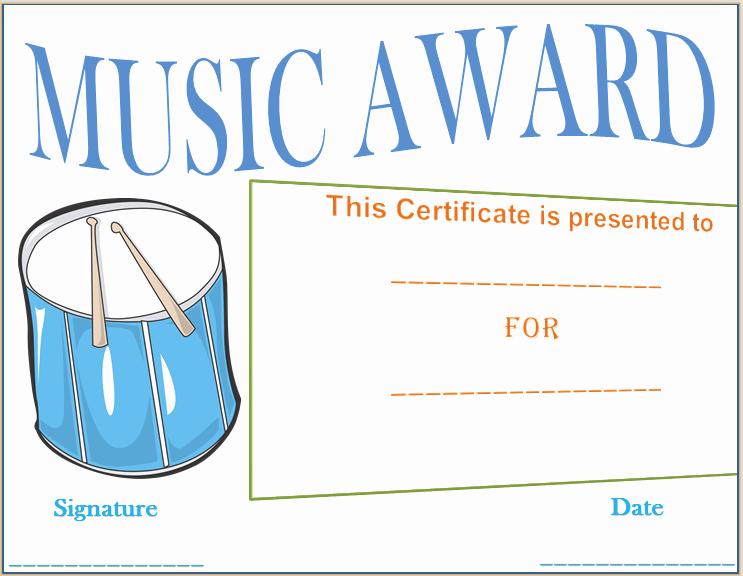 Music Awards Certificates Templates Fresh Drumbeat Award Certificate Template