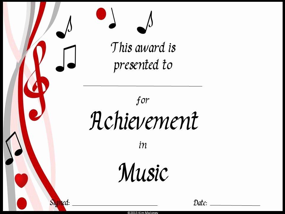 Music Awards Certificates Templates Fresh End Of the Year Music Awards Editable Music Award