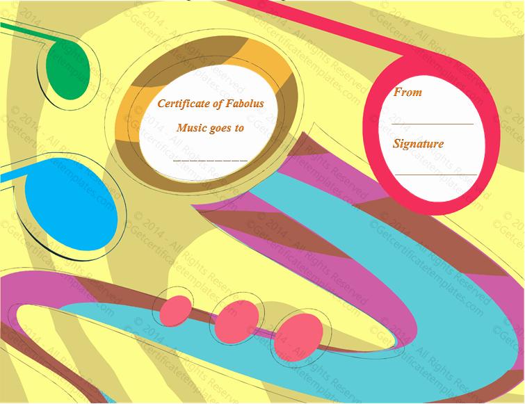 Music Awards Certificates Templates Inspirational Music is Art Award Certificate Template