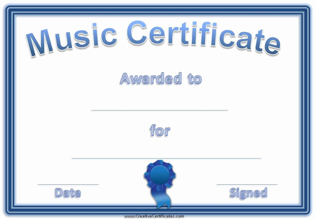 Music Awards Certificates Templates Lovely Free Editable Music Certificate Template Free and
