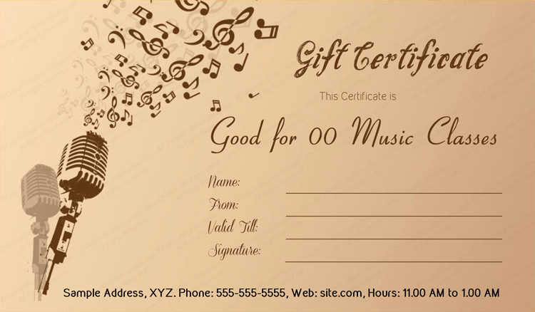Music Awards Certificates Templates Lovely Music Menia Gift Certificate Template