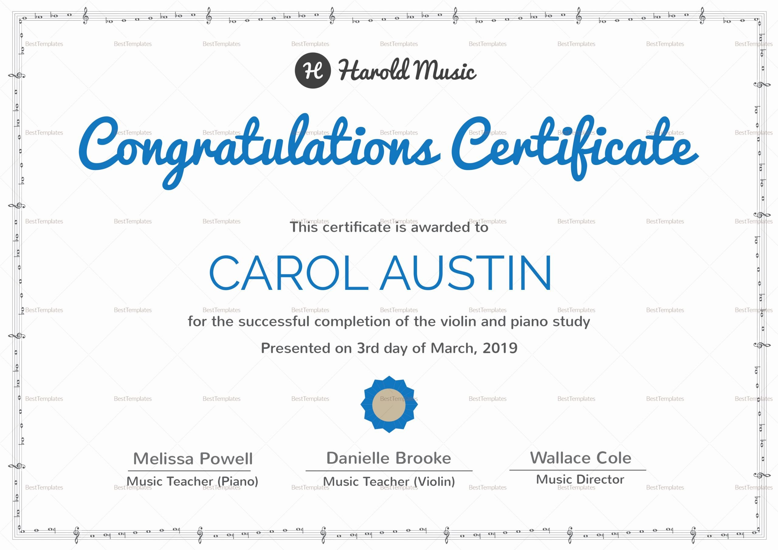Music Awards Certificates Templates New Music Training Pletion Certificate Design Template In