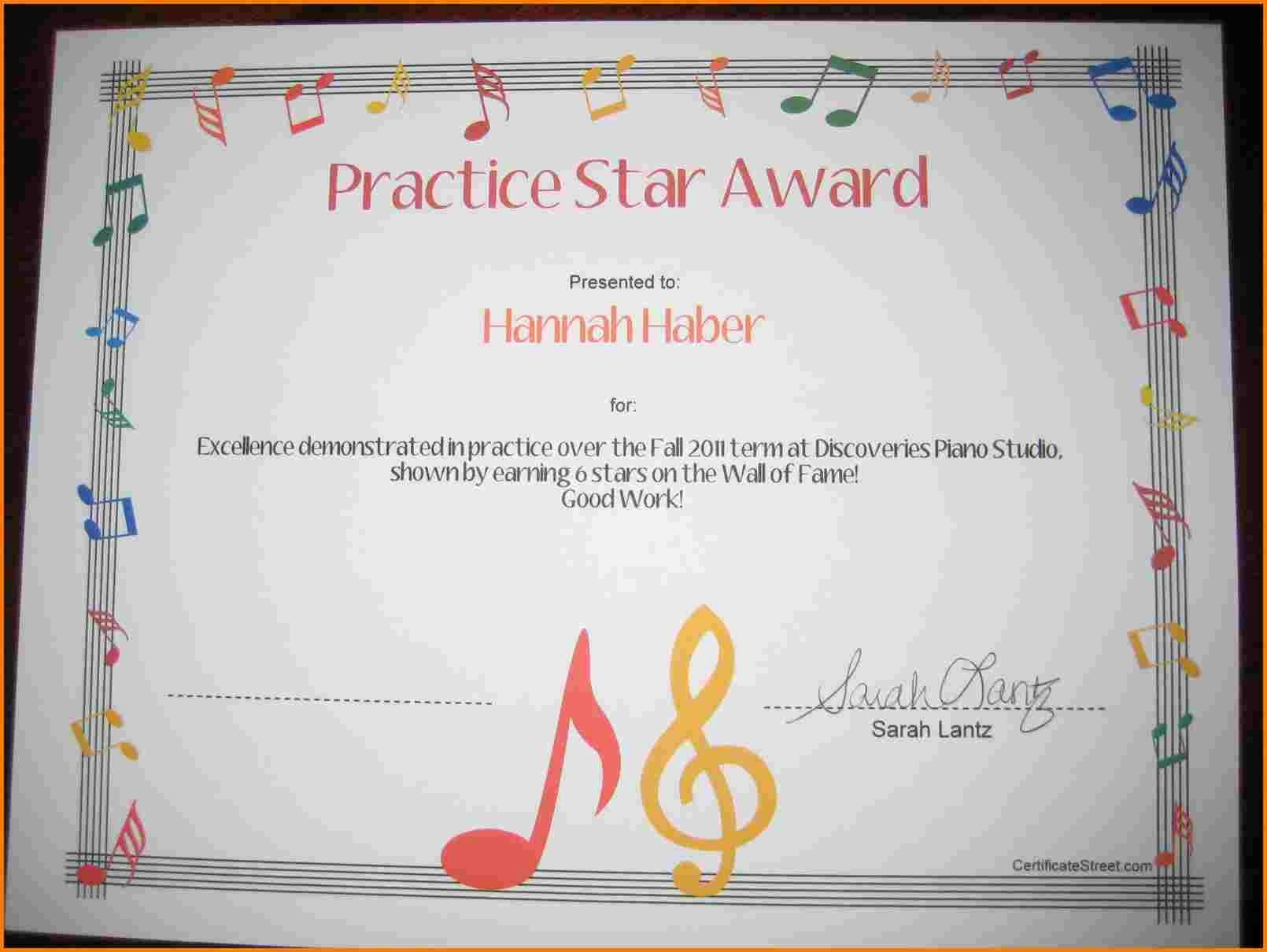 Music Certificate Template for Word Awesome Music Certificate Template
