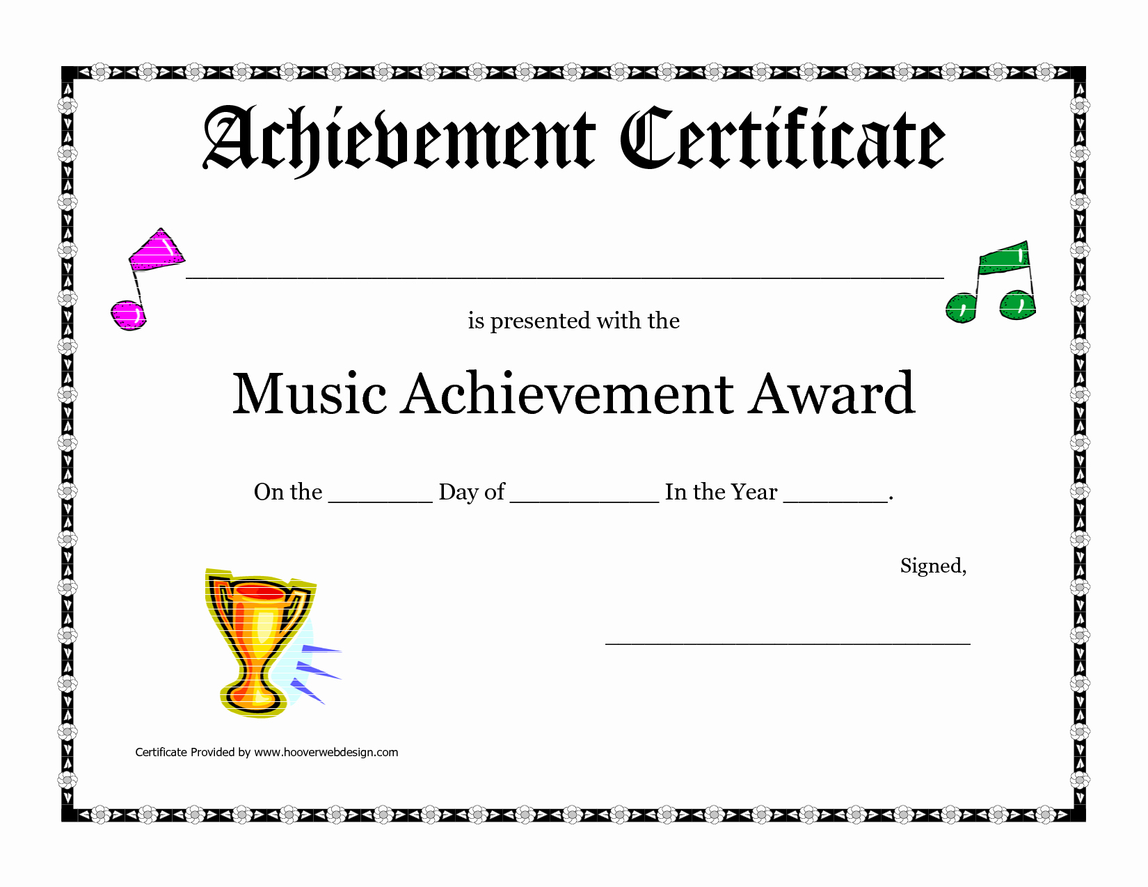 Music Certificate Template for Word Beautiful Free Printable Achievement Award Certificate Template