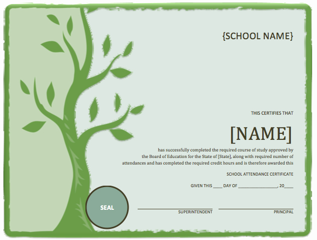 Music Certificate Template for Word Best Of School attendance Certificate Template – Word Templates