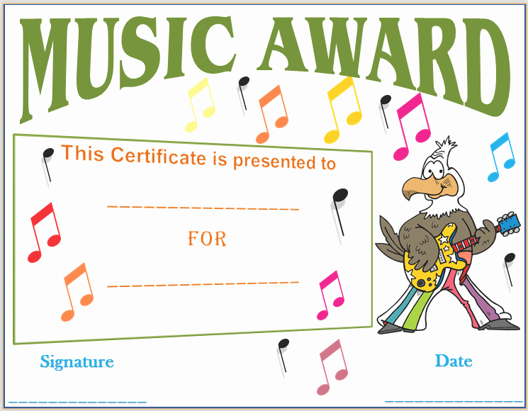 Music Certificate Template for Word Elegant Musical Notes Award Certificate Template