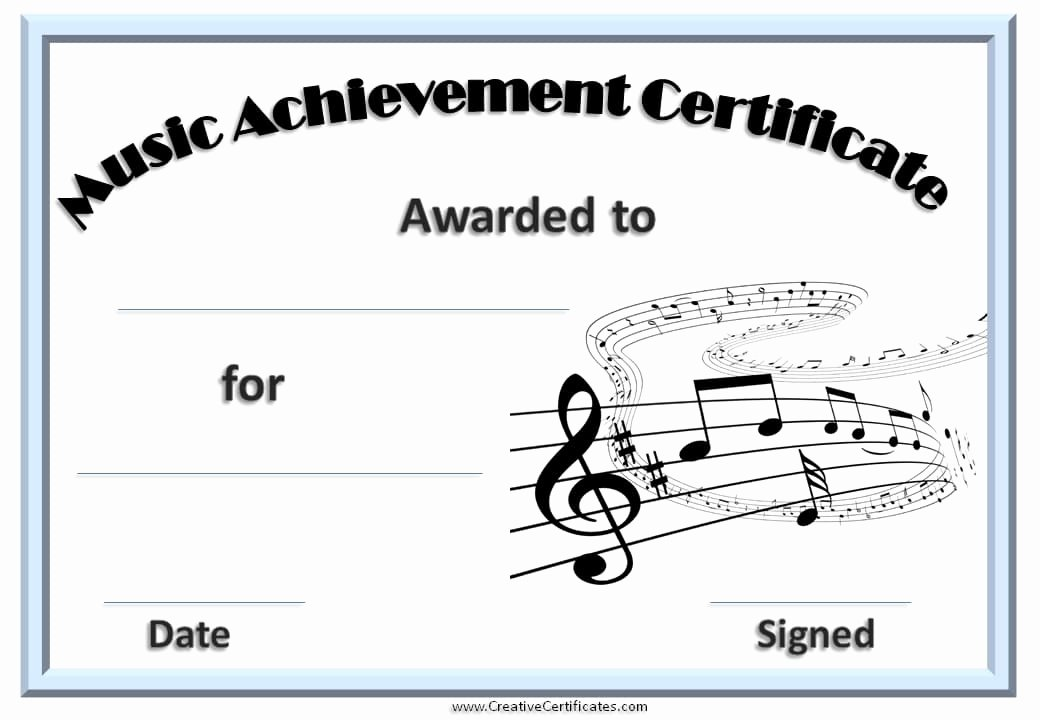 Music Certificate Template for Word Inspirational Free Editable Music Certificate Template Free and