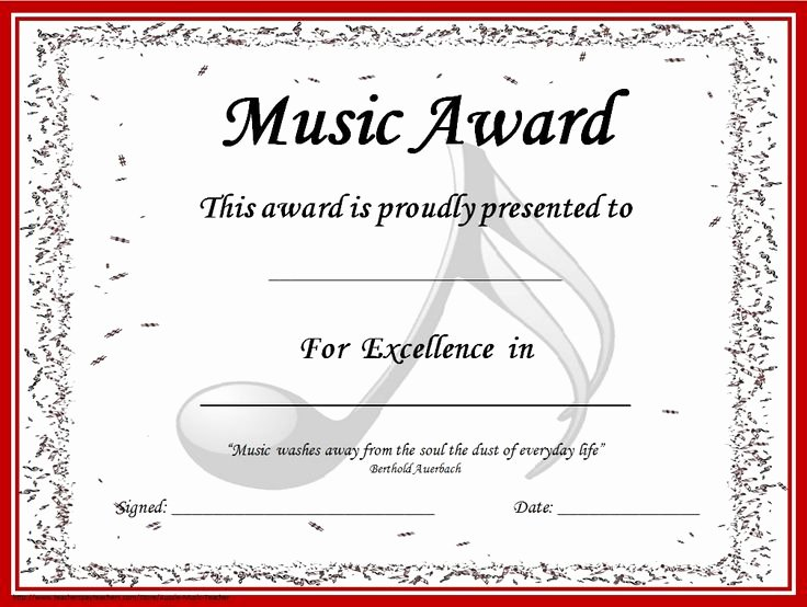 Music Certificate Template for Word Inspirational Music Award Certificates Editable