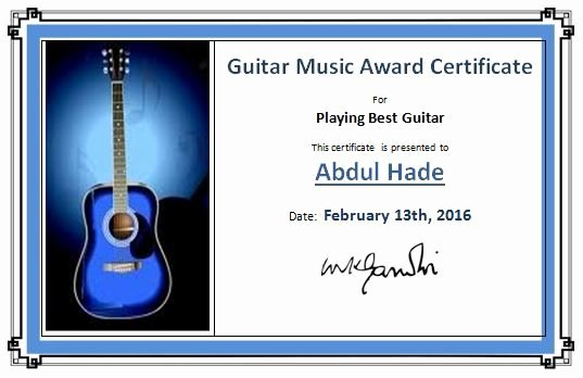 Music Certificate Template for Word Lovely Guitar Music Award Certificate Template