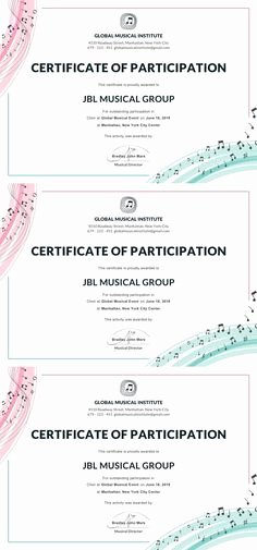 Music Certificate Template for Word Luxury 22 Best Certificate Of Participation Template Images In