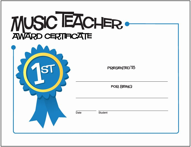 Music Certificate Template for Word New Teacher Appreciation Week
