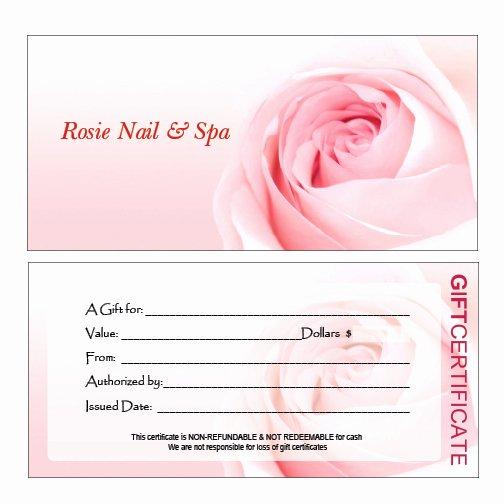 Nail Gift Certificate Template Beautiful Hair Nail Spa Printing