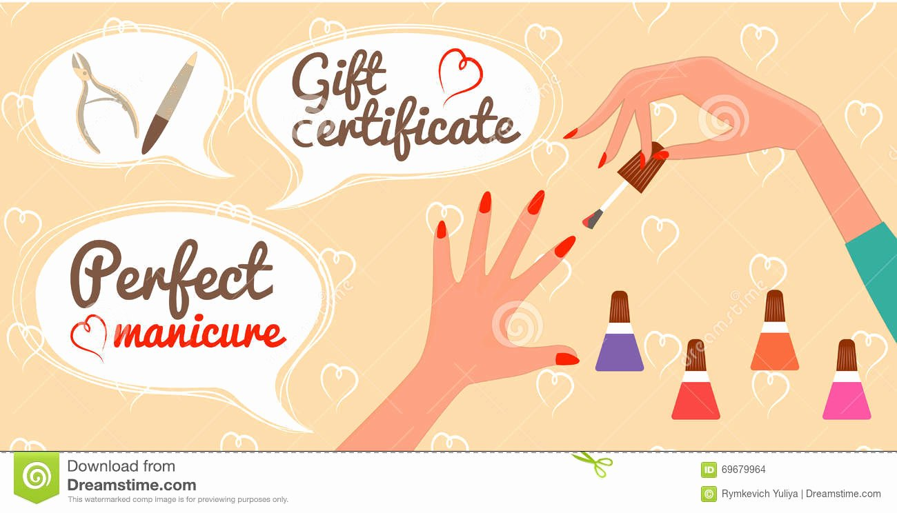 Nail Gift Certificate Template Lovely Gift Certificate Perfect Manicure Nail Salon Stock Vector