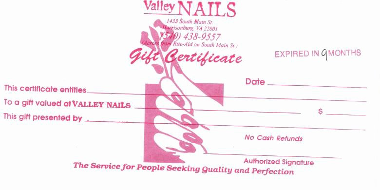Nail Gift Certificate Template Lovely Valley Nails