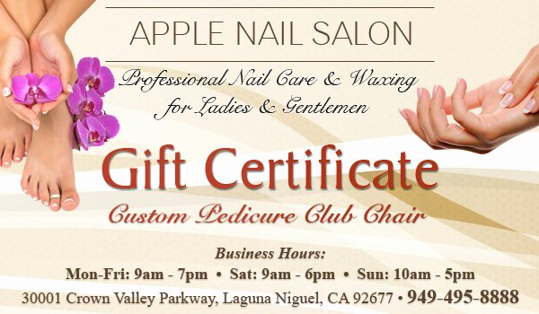Nail Salon Gift Certificate Template Best Of Custom Pedicure Club Chair Gift Certificate Apple Nail