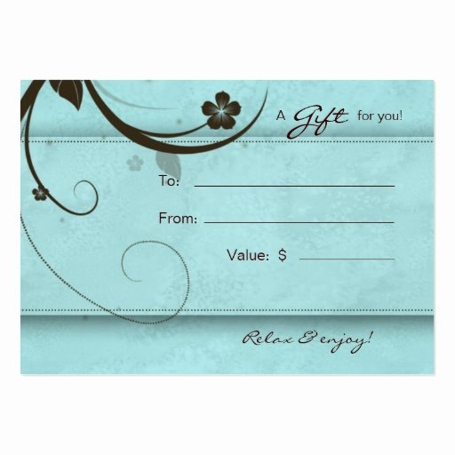 Nail Salon Gift Certificate Template Luxury Salon Gift Card Spa Flower Watery Blue Business Cards