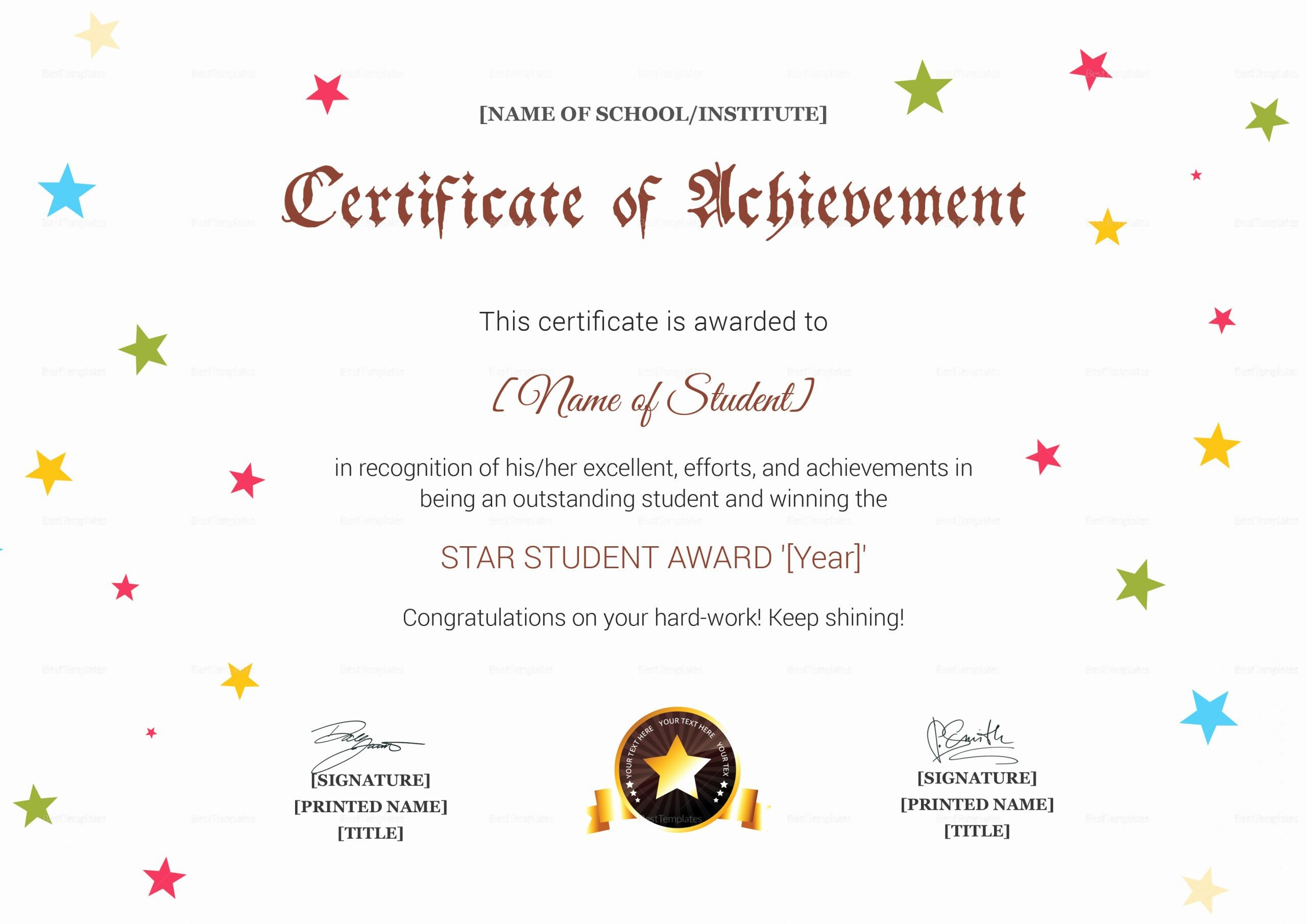 Name A Star Certificate Template Elegant Star Achievement Certificate Design Template In Psd Word