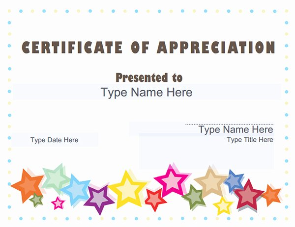 Name A Star Certificate Template Free Beautiful Certificate Of Appreciation Templates
