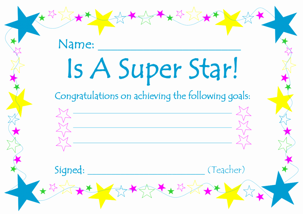 Name A Star Certificate Template Free Beautiful Teaching Resource – Printable Goals Certificates